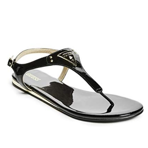 Guess Carmela Black T Strap Sandals NWT